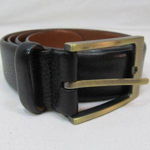 """Mens Black Belt Italian Leather Brass Bucke 41"""""""